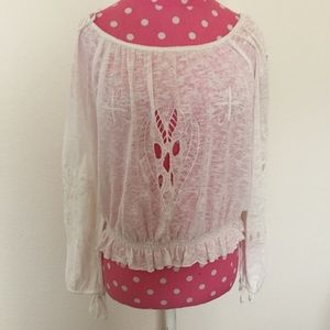 FREE PEOPLE White Burnout Long Sleeve Cut Out Top